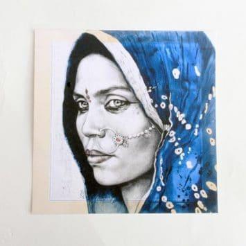 """""""Papu"""". Carte postale, sur Papier d'art. Stéphanie Ledoux."""