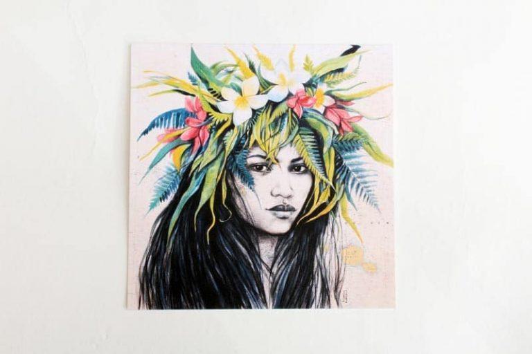 """""""Hoahere"""". Carte postale, sur Papier d'art. Stéphanie Ledoux."""