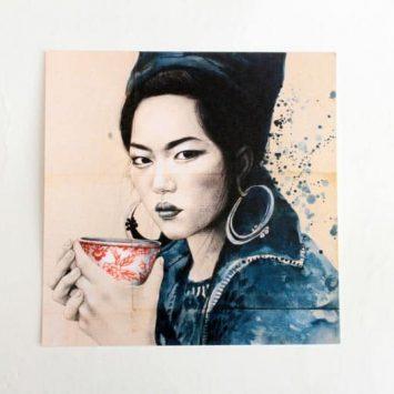 """""""Pause thé Hmong"""". Carte postale, sur Papier d'art. Stéphanie Ledoux."""