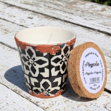 Bougie artisanale Magnolia + pot céramique réutilisable. Espagne.
