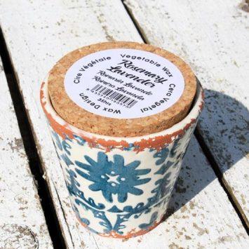 Bougie artisanale Lavande/Romarin + pot réutilisable. Espagne.