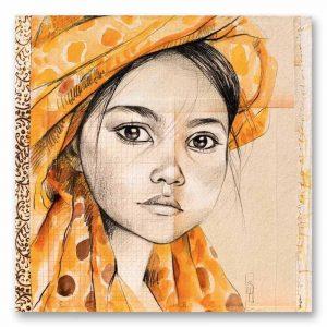 """""""Le voile jaune"""". Reproduction signée, sur Papier d'art. Stéphanie Ledoux."""