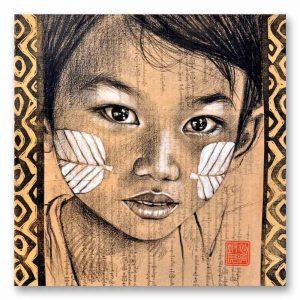 """""""Thanaka"""" Birmanie. Reproduction signée, sur Papier d'art. Stéphanie Ledoux."""
