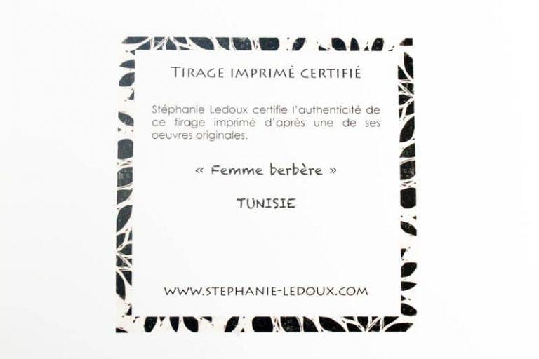 """""""Femme Berbère"""". Reproduction signée, sur Papier d'art. Stéphanie Ledoux."""