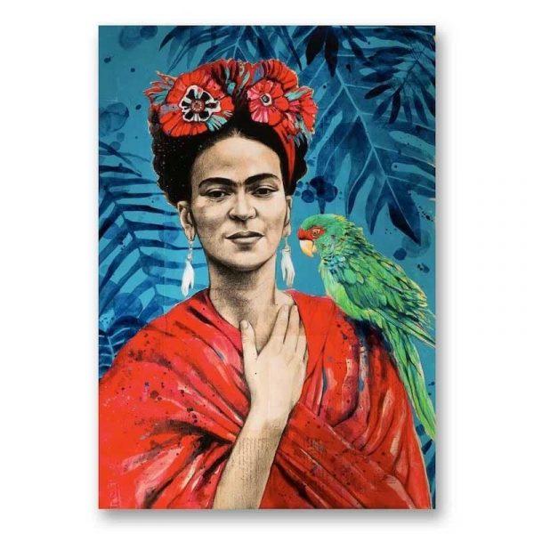 """""""Frida au Perroquet"""". Reproduction signée, sur Papier d'art. Stéphanie Ledoux."""