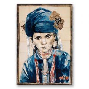 """""""Le chèche indigo"""". Reproduction signée, sur Papier d'art. Stéphanie Ledoux."""