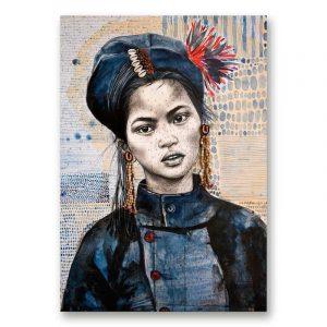 """""""Chez les Ann 1"""". Reproduction signée, sur Papier d'art. Stéphanie Ledoux."""
