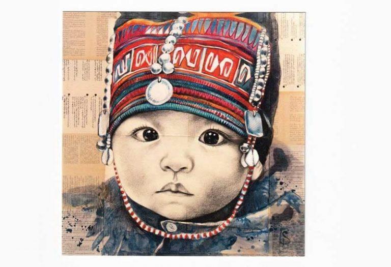 """""""Bébé Akha"""". Carte postale, sur Papier d'art. Stéphanie Ledoux."""