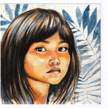 """""""Chez les Kogis"""". Carte postale, sur Papier d'art. Stéphanie Ledoux."""