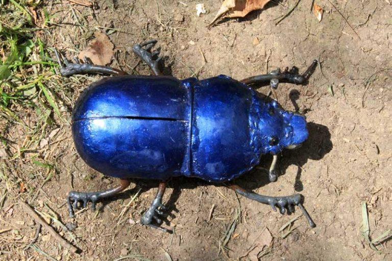 Scarabée bleu à poser ou déco murale, en métal recyclé. Zimbabwe