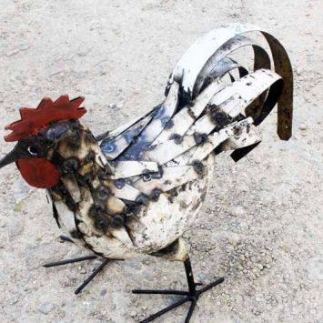 Coq de basse cour en métal recyclé. Fait main. Zimbabwe